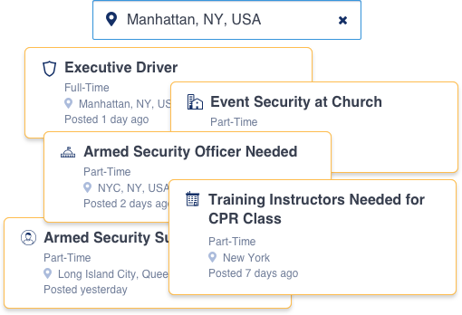 OfficerList job examples: Executive Driver in Manhattan, Event Security at Church, Part-time, Armed Security Officer Needed in NYC, Training Instructors Need for CPR in NY, Armed Security in Long Island City