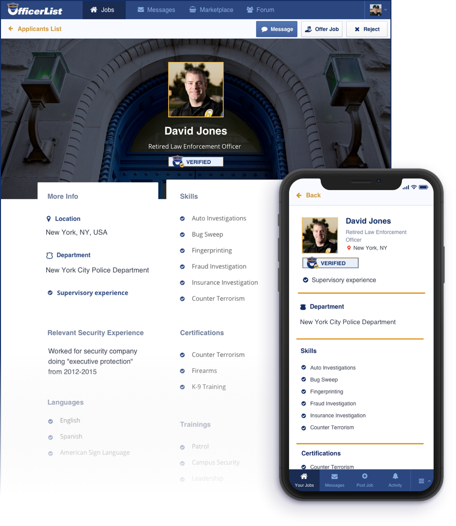 Verified Officers get a customized resume (LiveResume) for prospective employers to see. Looks great on phone and computer.